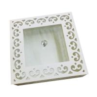 Picture of Wooden Square Candy Storage Box With Glass Lid, White