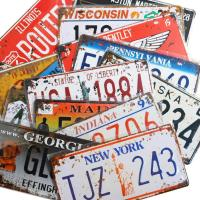 Picture of Retro Vintage US States Assorted License Plates, 6 Pieces