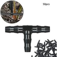 Picture of Goolsky 50Pcs Sets Tee Joint Hose Connectors Irrigation Barbed, Black