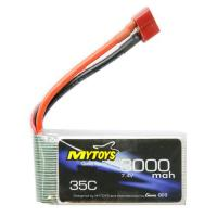 Picture of 7.4 V Rechargable T Plug Lithium Polymer Battery for RC Car, 3000mAh