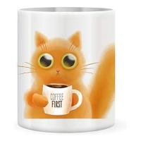 Picture of 11Oz White Mug, With Cartoon Cat Pic Printed