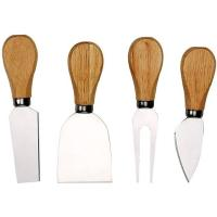 Picture of 4 Pieces Set Cheese Knives With Bamboo Wood Handle Steel Stainless