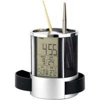 Picture of Mesh Pen Pencil Holder Digital Lcd Desk Alarm Clock Calendar