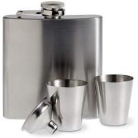 Picture of Slim Hip Flask Satin Finish 175M With 2 Cups And Bottleneck