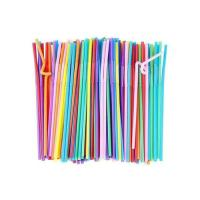 Picture of Disposable Bendy Party Drinking Straw, 100 pcs, Multi Colour