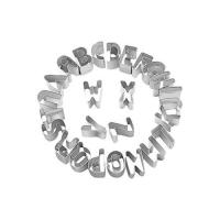 Picture of Stainless Steel Alphabet Shaped Cookie Cutter Set, Silver - Set of 26