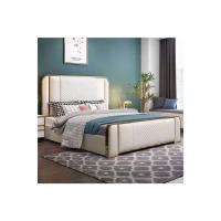 Picture of Neo Front Solid Wooden Frame King Size Bed, 1.8 m, Gold & White