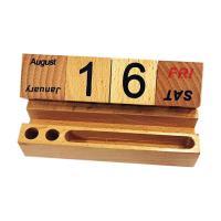 Picture of Wooden Block Desktop Calendar, With Pen Holder And Card Holder