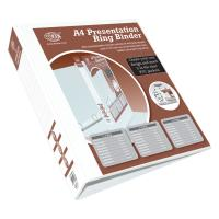 Picture of FIS A4 Size 4D Ring Presentation Binder, White, 3 Inch, Pack of 20