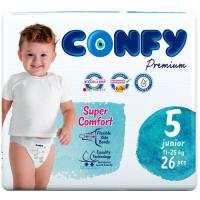 Picture of Confy Premium Size 5 Junior Baby Diaper, 26 Pieces, Pack of 5 - Carton