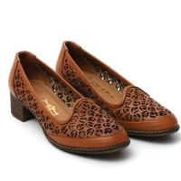 Picture of Leather Round-Toe Ballerina Shoes With Block Heels, 1.5Inch - Carton of 12