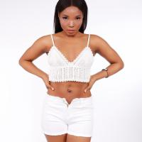 Picture of Spaghetti Knitted Crop Top, White - Pack of 12, Free Size