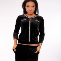 Picture of Velvet Tracksuit with Shimmery Borders, Black - Pack of 12