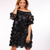 Picture of Off-Shoulder Puffed Dress, Black - Pack of 12