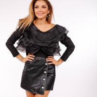 Picture of Glossy Leather Buttoned Short Skirt - Pack of 12