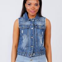 Picture of Ripped Denim Vest with Pockets, Blue - Pack of 12