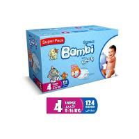 Picture of Sanita Bambi Baby Diapers Super Pack, Large - Carton Of 124 Pcs