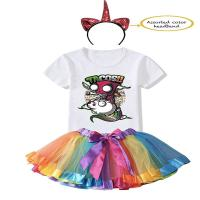Picture of Fancy Dess Wale Unicorn Birthday Princess Dress for Girls Tutu Skirt, T-Shirt and Assorted Head Band