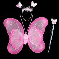 Picture of Fancy Dess Wale Girls Butterfly Fairy Angel Wing, Wand and Hairband Pink, Single)