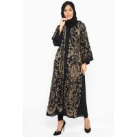 Picture of Nukhbaan Elegant And Exclusive Copper-Thread Floral Embroidered Abaya
