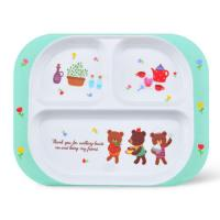 Picture of Royalford Melamine 3-Section Rectangular Baby Plate, RF7247, 25.6x18.8x2cm