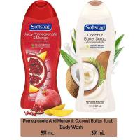 Picture of Softsoap Coconut Scrub and Juicy Pomegranate Shower Gel - 591 ml, Pack of 2