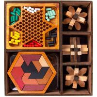Picture of Thinkbox Thinking Wooden Puzzles & Games Set - Brown
