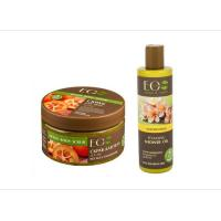 Picture of Organic Sugar Body Scrub and Shower Oil Set for Nourishing and Detox, 580g