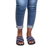 Picture of Uzuri K&Y Xara B Mixed Canvas Flip Flop with Belt and Zip, Blue & White