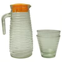 Picture of Beverage 3pcs Set Kettle Bottel With Cups, Clear & Orange