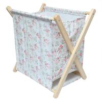 Picture of Wooden Polycotton Laundry Basket, Beige