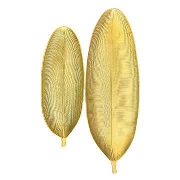 Picture of Home Diy 2-Piece Leaf Shape Serving Tray Set Gold