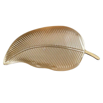 Picture of Home Diy 1-Piece Leaf Shape Serving Tray Set Gold