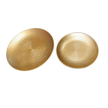 Picture of Home Diy 2-Piece Round Shape Serving Tray Set Gold