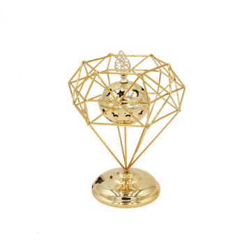 Picture of Ling Wei Abstract Geometric Design Bakhoor Incense Burner, Gold