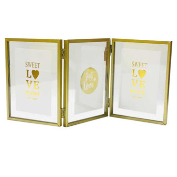 Picture of Ling Wei Modern Design Tri-Fold Frames Photo Frame, Gold