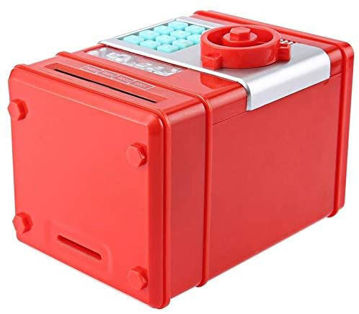 Picture of Kids Mini Electronic Money Bank Coin Cash Saving Box,Red