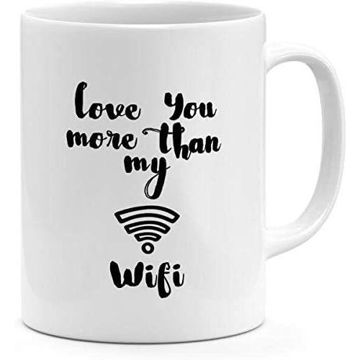 Picture of Ceramic Love You More Then My Wifi Best Friends Couples Gift Mug