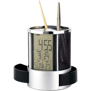 Picture of Goolsky Mesh Pen Pencil Holder With Digital Lcd Desk Alarm Clock