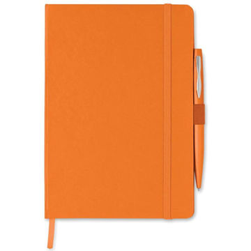 Picture of Orange Colour A5 Note Book With Pen