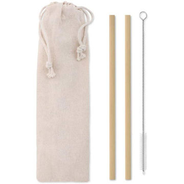 Picture of Reusable Bamboo Straws, Stainless Steel Nylon Cleaning Brush 2 Sets
