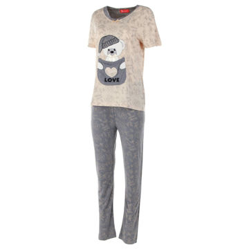 Picture of Joanna Printed Bear Short Sleeves Ladies Pajama Set of 12 Pcs, Assorted Color & Size