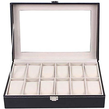 Picture of East Lady Leather Glass Top Jewelry Case - Black