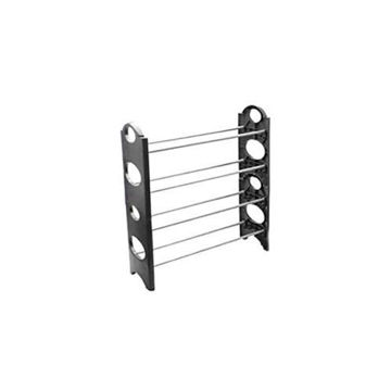 Picture of 4 Layer Stackable Shoe Rack, Black/Silver, 2Pcs