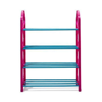 Picture of 4-Layer Stackable Shoe Rack, Pink/Blue