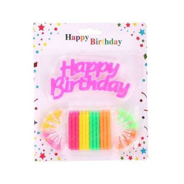 Picture of Birthday Candles with Stand and Cake Topper, 25 pcs, Multi Colour