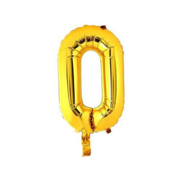 """Picture of Number """"0"""" Party Foil Balloon, Gold"""