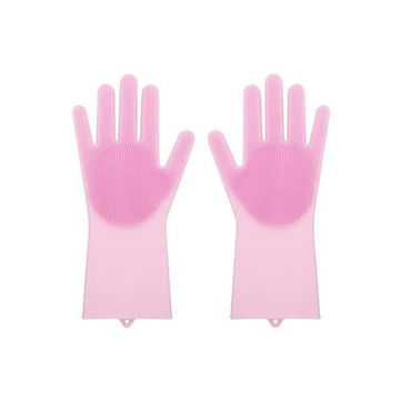 Picture of Silicone Scrubber Cleaning Gloves, Pink