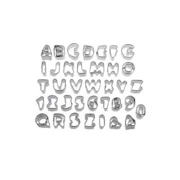 Picture of Stainless Steel Alphabet and Number Cookie Cutter, 36 pcs, Silver