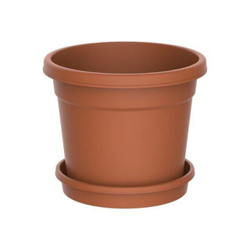 Picture of Round Shaped Terracotta Flower Pot with Tray, 8 inch, Brown